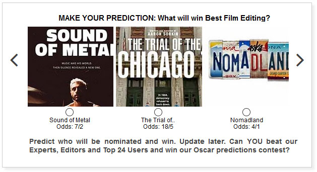 Oscars Best Film Editing predictions widget