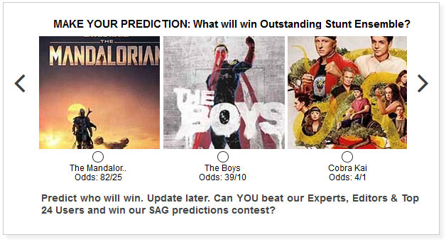 sag awards tv stunt ensemble predictions widget