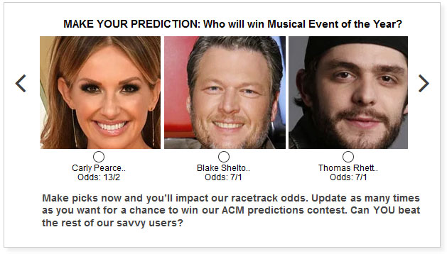 acm awards musical event of the year predictions widget
