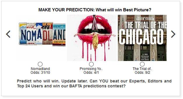 baftas best picture predictions widget
