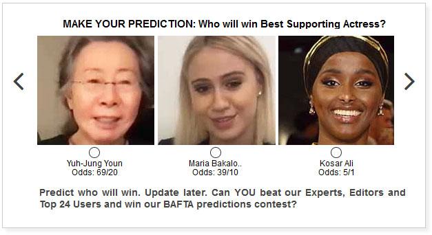 baftas best supporting actress predictions widget