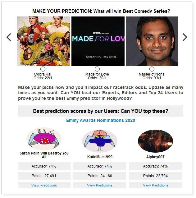 emmys comedies predictions widget