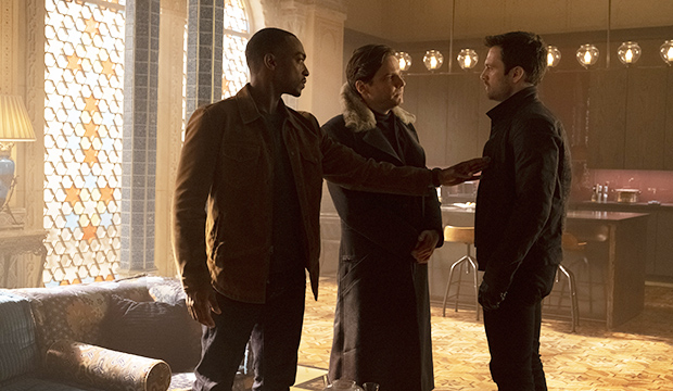 Anthony Mackie, Daniel Bruhl and Sebastian Stan, The Falcon and The Winter Soldier