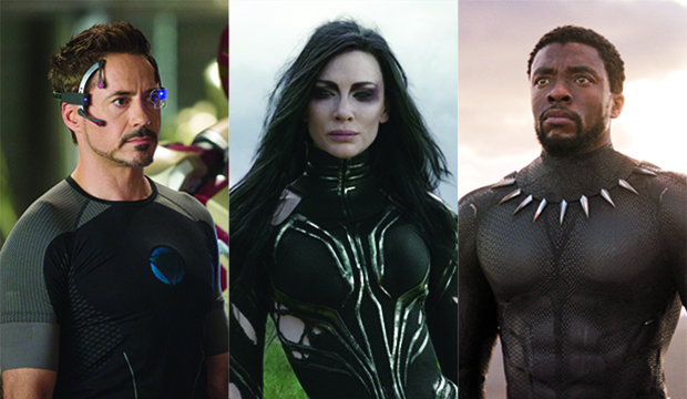 Robert Downey Jr., Iron Man 3; Cate Blanchett, Thor: Ragnarok; Chadwick Boseman, Black Panther