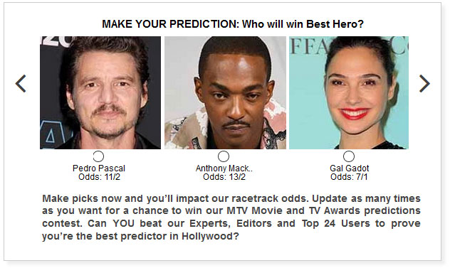 mtv movie and tv awards best hero predictions widget