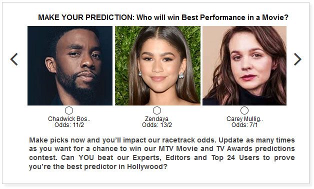 mtv movie and tv awards best performance in a movie predictions widget