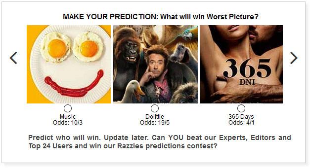 razzies worst picture predictions widget