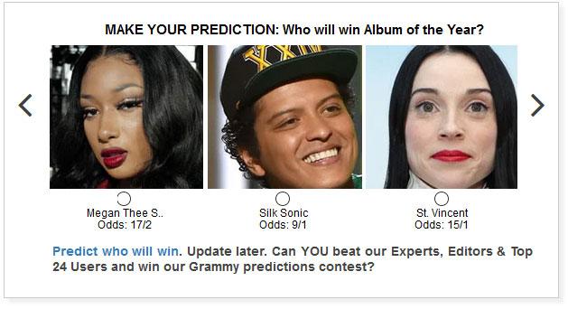 grammy album of the year predictions widget