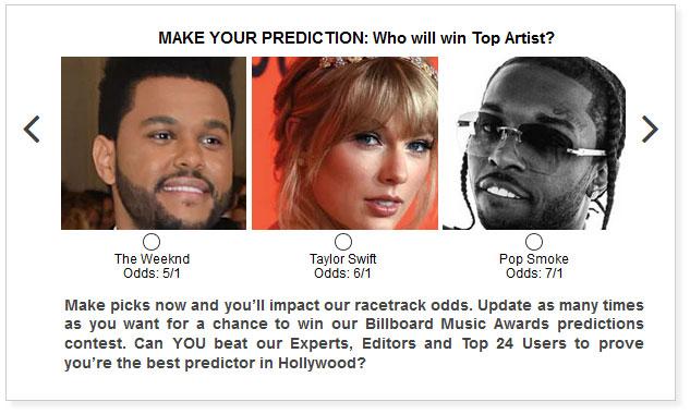 billboard music awards top artist predictions widget