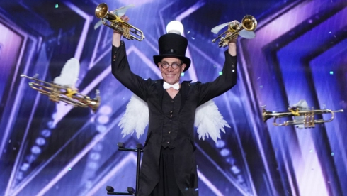Alex Ostrovsky americas got talent flying trumpets