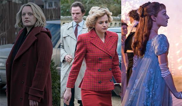 Elisabeth Moss, The Handmaid's Tale; Emma Corrin, The Crown; Phoebe Dynevor, Bridgerton