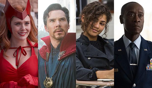 Elizabeth Olsen, WandaVision; Benedict Cumberbatch, Avengers: Infinity War; Zendaya, Spider-Man: Homecoming; Don Cheadle, The Falcon and The Winter Soldier